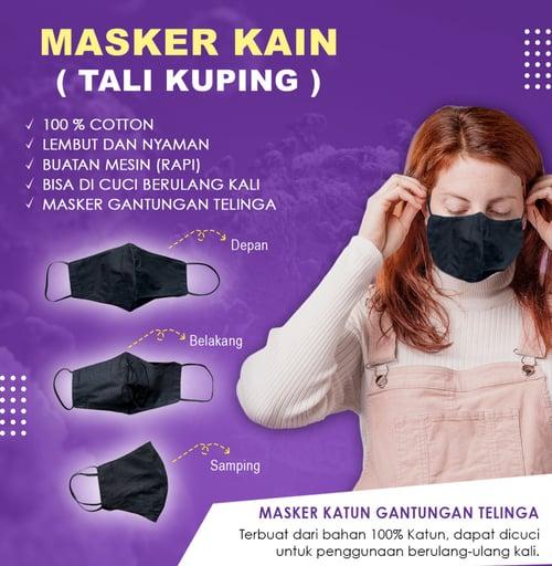 Masker kain hitam tali kuping