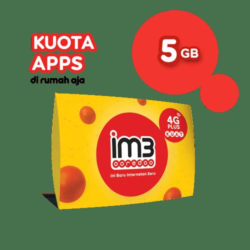 KARTU PERDANA KUOTA APPS DI RUMAH AJA 5GB / 3 HARI