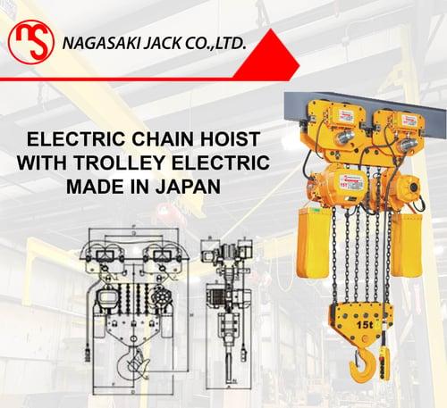 Electric Chain Hoist 15 Ton x 8 Meter Nagasaki Made In Japan