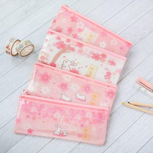 Sakura Bunny Plastic Pencil Case / Tempat Alas Tulis / Tempat Pensil