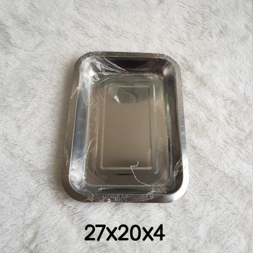 Baking Tray Loyang Segi Nampan Baki Stainless Steel Wadah Tebal Kecil 27 x 20 x 4 cm 27x20x4