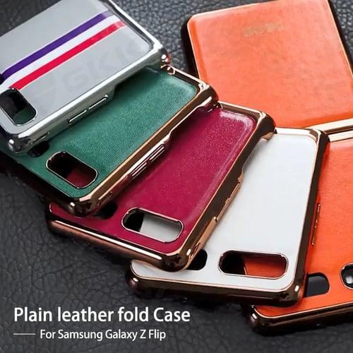 ORIGINAL GKK Galaxy Z Flip 2020 Leather Metal Case 360 Full Protection