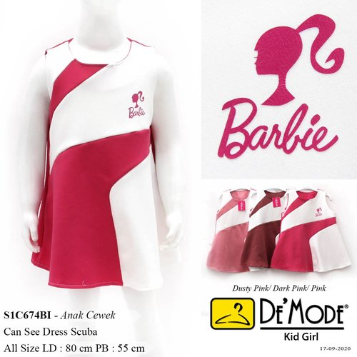 DeMode Kid girl codeS1C674BI Can see dress scuba kombinasi warna Aplikasi logo Barbie