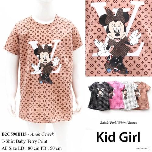 Demode Kid girl codeB2C590BH5 T-shirt O neck Babitery fullprint Lv print Minnie LV