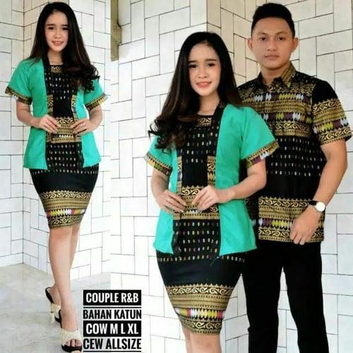 Couple Batik Sarimbit Kebaya Pesta Baju Pasangan Seragam SRG 436-2