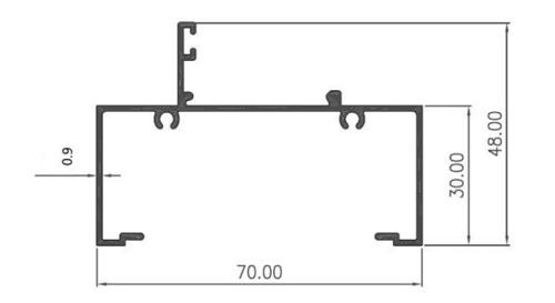 WINDOW WALL 70 x 30 0,90mm - PC - Artic White, Brown, Black Matte