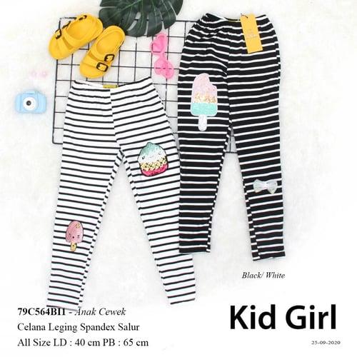 DeMode Anak cewek kode79C564BI1 Pakaian anak cewek leging spandex salur Aplikasi depan