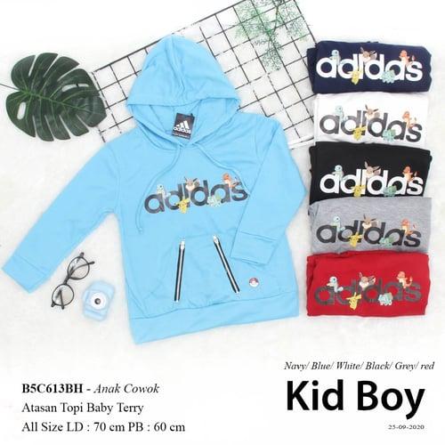 DeMode Anak cowok kodeB5C613BH Pakaian anak cowok Atasan topi Babyterry print Adidas pokemon