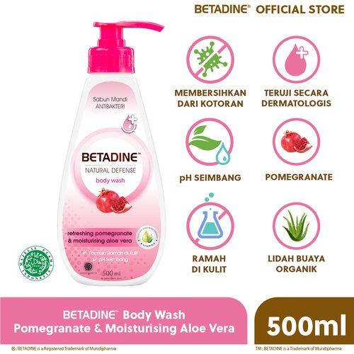 BETADINE Body Wash Pomegranate Bottle 500 mL