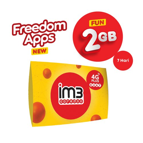 KARTU PERDANA FREEDOM APPS FUN 2GB / 7 Hari