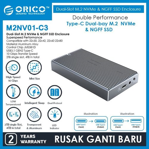 ORICO Dual-Slot M.2 NVMe & M.2 SATA NGFF SSD Enclosure - M2NV01-C3