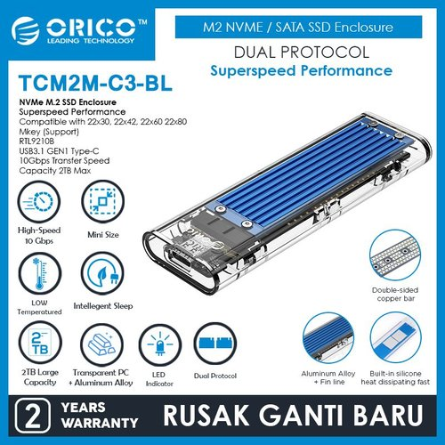 ORICO M.2 NVME M.2 SATA SSD Enclosure Dual Protocol - TCM2M-C3