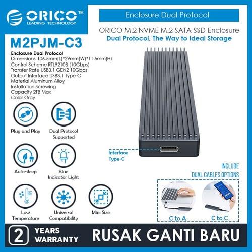 ORICO M.2 NVME NGFF SSD Enclosure Dual Protocol - M2PJM-C3
