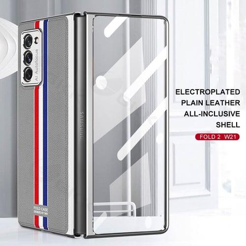 ORIGINAL GKK Samsung Galaxy Z Fold 2 2020 Eletroplated Leather Case 360 Full Tempered Glass