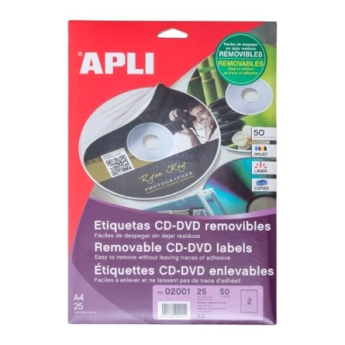 APLI Label CD RomRemovable Out 114 X In 41MM 02001 50 unit