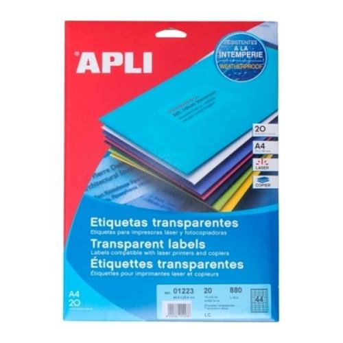 APLI Label Polyester Transparent 01223 880 unit