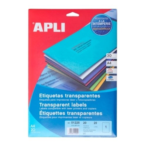 APLI Label Polyester Transparent 210 X 297MM 01225 20 unit