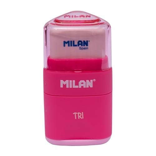 MILAN Pencil Sharpener and Eraser TRI 47001 Pink