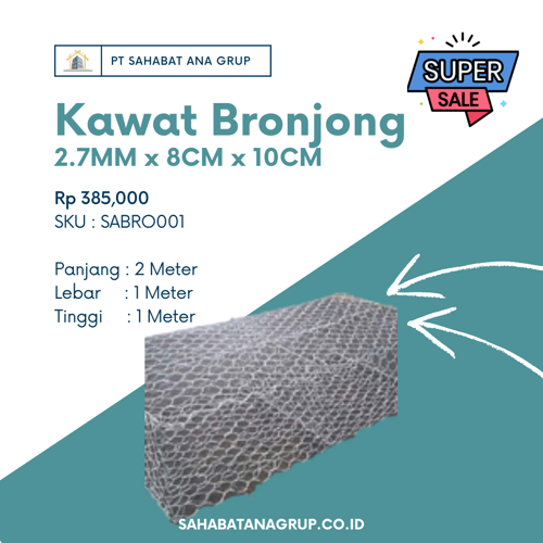 Kawat Bronjong 2.7MM x 8CM x 10CM