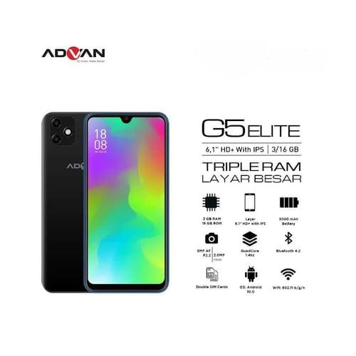 Advan G5 Elite Smartphone  Ram 3GB Rom 16GB Black - Garansi Resmi