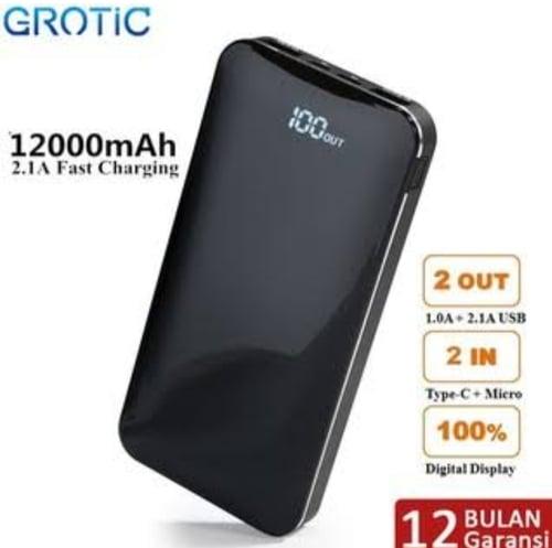 GROTIC Power Bank 12000mAh Powerbank Dual USB