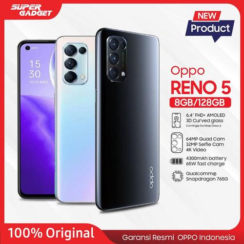 OPPO Reno 5 8/128GB Smartphone 6.4 OLED Display, Snapdragon 765G, 65W Fast Charge 64MP Quad Camera Fantasy Silver - Garansi Resmi