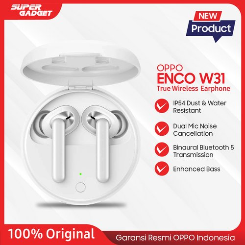 OPPO ENCO W31 True Wireless Earphone with Bluetooth 5.0 Dual Microphone , IP54 Tahan Debu dan Air ORIGINAL OPPO