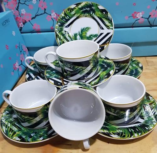 Green99 Store  CUP  &  SAUCER  KOPIN  /  CANGKIR KOPI  / 6 PCS / MOTIF POHON KELAPA