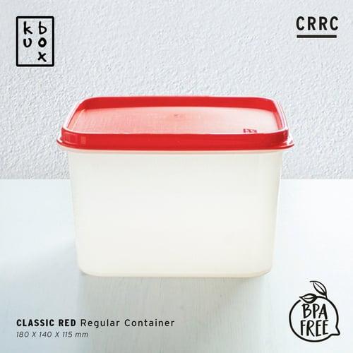 KUBOX Regular Container Red - Kotak Makan Plastik Ukuran 1900 ml Tebal Anti Bocor Warna Merah