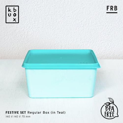 KUBOX Lunch Box Tempat Kotak Makan Plastik Bekal - Kotak Makan Plastik Ukuran 1200 ml Tebal Anti Bocor Warna Teal