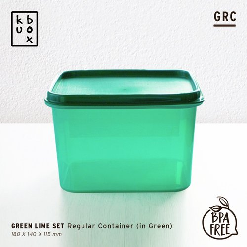 KUBOX Regular Container Red - Kotak Makan Plastik Ukuran 1900 ml Tebal Anti Bocor Warna Hijau