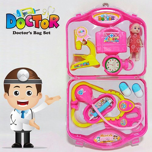 Mainan Dokter-Dokteran Koper Dengan Boneka - Mainan Edukasi Anak Dokter2an / Mainan Dokter / Mainan anak Perempuan / Mainan Koper Dokter Set - PINK