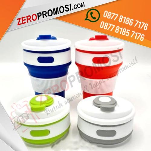 Souvenir Tumbler Lipat Collapsible Coffe Cup Cetak Logo Murah