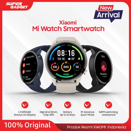 Xiaomi Mi Watch Black layar AMOLED 1,39 inci, Bahan polimer - Original