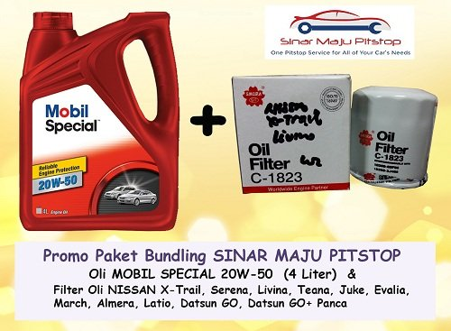 Promo Paket Bundling EXXON MOBIL SPECIAL 20W-50 4 LITER & Filter Oli NISSAN X-TRAIL & NISSAN SERENA ORIGINAL