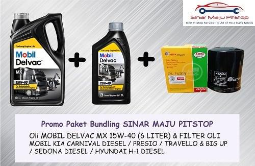 Promo Paket Bundling Oli 6 LITER MOBIL DELVAC MX 15W-40 & FILTER HYUNDAI H-1 DIESEL ORIGINAL