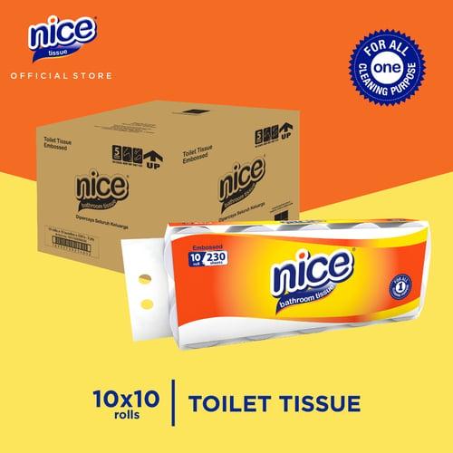 Karton - Nice Tissue Toilet Roll Core Emboss 230 Sheets 10 Roll x 10 pcs