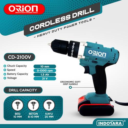 Mesin Bor Baterai Cordless Drill Bor Tangan Baterai 21V Orion CD-2100V