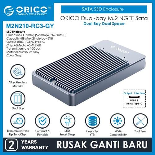 ORICO Dual bay M.2 NGFF SATA SSD Enclosure Raid - M2N210-RC3