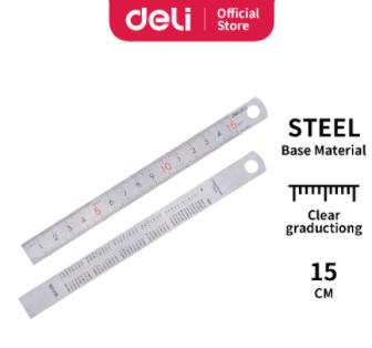 Deli Penggaris baja berkualitas tinggi tahan gores 15cm 8461