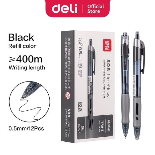 Deli Gel Pen Pulpen Gel Retractable 0.5mm 3 Warna Bullet Tip S08-black