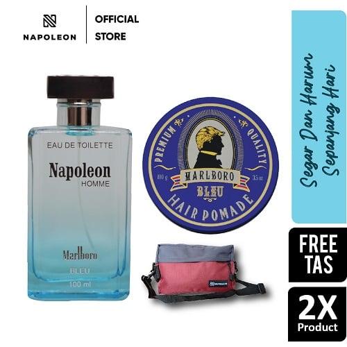 Parfum Eau De Toilette Napoleon Bleu & Pomade Marlboro Bleu - FREE TAS