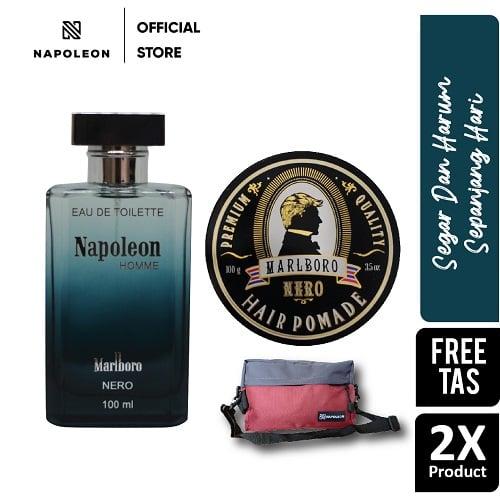 Parfum Eau De Toilette Napoleon Nero & Pomade Marlboro Nero - FREE TAS