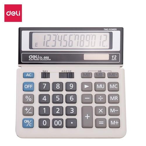 Deli Kalkulator Dual Power Bersertifikat CE Garansi 3 Tahun W868