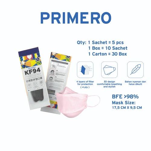 Primero Masker KF94 4Ply Soft Pink  - 1 Sachet isi 5pcs