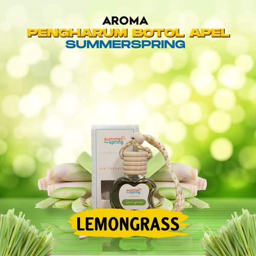 Pengharum Gantung Botol Apel Summerspring Untuk Mobil / Ruangan / Kamar / Kamar Tidur / Toilet / WC / Pewangi Tahan Lama - Aroma Lemon Grass