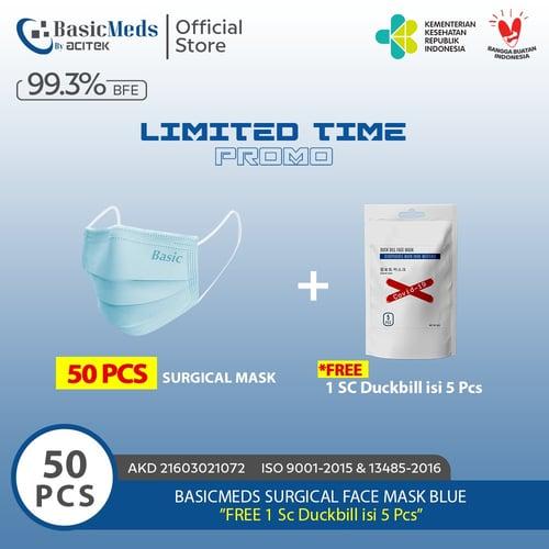 BasicMeds Surgical Mask Earloop 50 Pcs Free 1sch Duckbill isi 5pcs