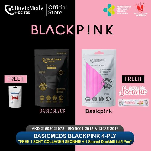BasicMeds BlackPink, medical 4ply 3 Pcs Free Collagen Duckbill