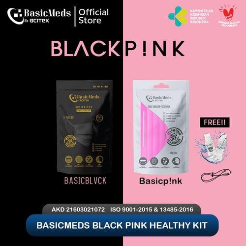 BasicMeds BlackPink, medical 4ply 3 PcsPouch Free Hand Gel