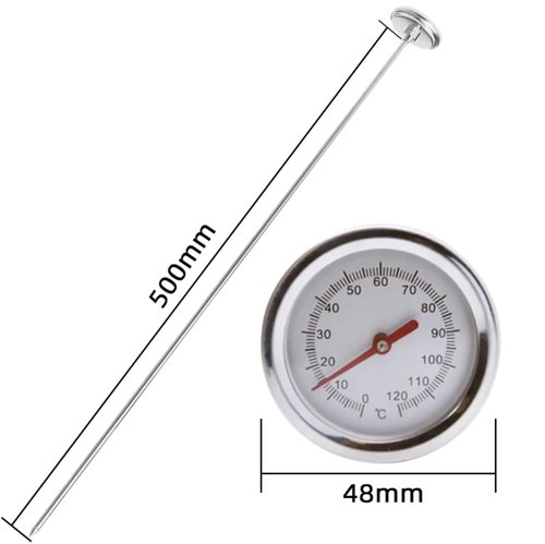 Soil Thermometer 500mm Long Probe Stainless Steel Compost